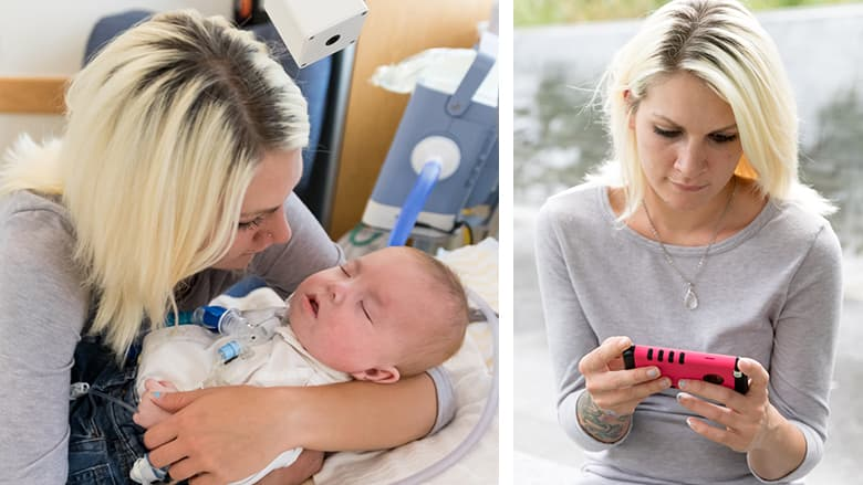 Side by side photos of mother holding son and monitoring on phone from remote location