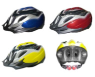 four bicycle helmets