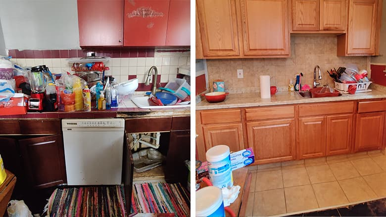 Before and after images of kitchen cabinet repair by CAPP+ Home Repair
