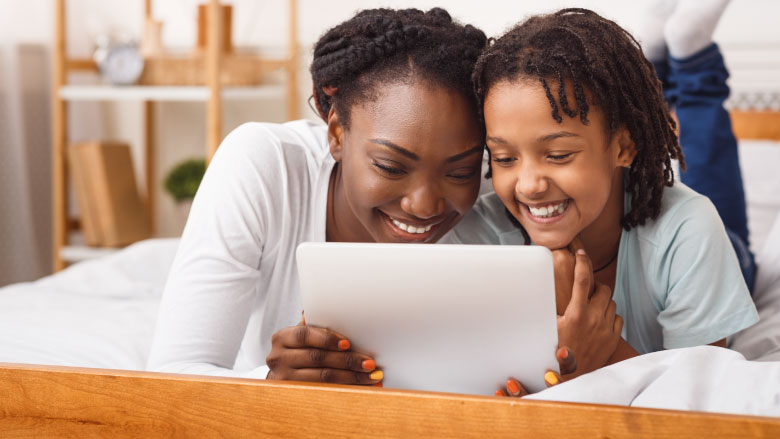 mom and daughter making video call