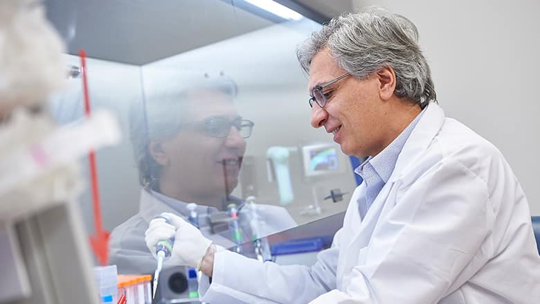 Dr. Rivella working in the laboratory