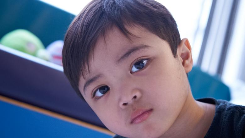 closeup of little boy