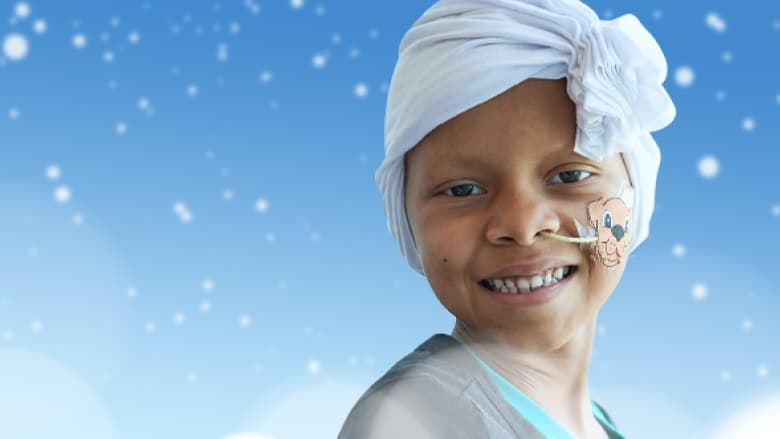 CHOP patient in snowflake background