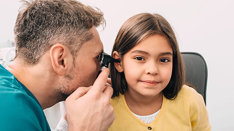 Child getting hearing checked