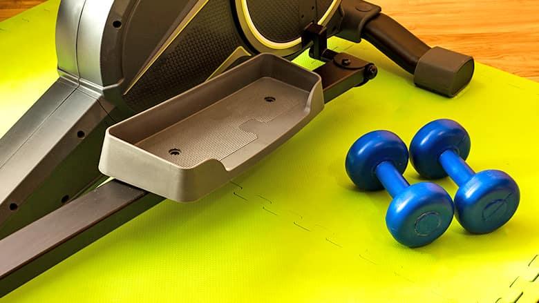 Weights and a workout mat