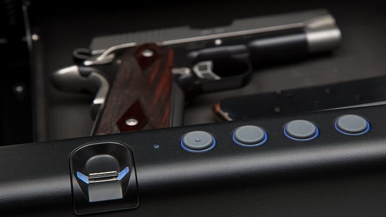 Gun sitting in electronic safe