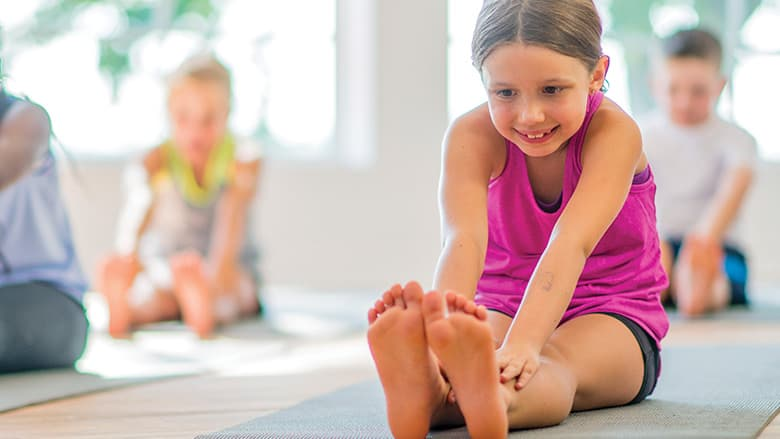 Children doing stretching exercises