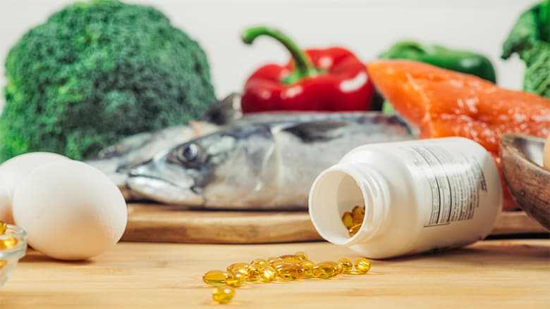 Display of supplements and foods rich in Vitamin D