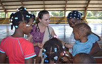 CHOP Global Health fellow Chloe Turner, MD, cares for children in the Dominican Republic.
