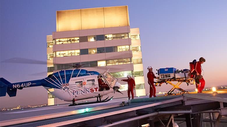 CHOP transport team on hospital roof