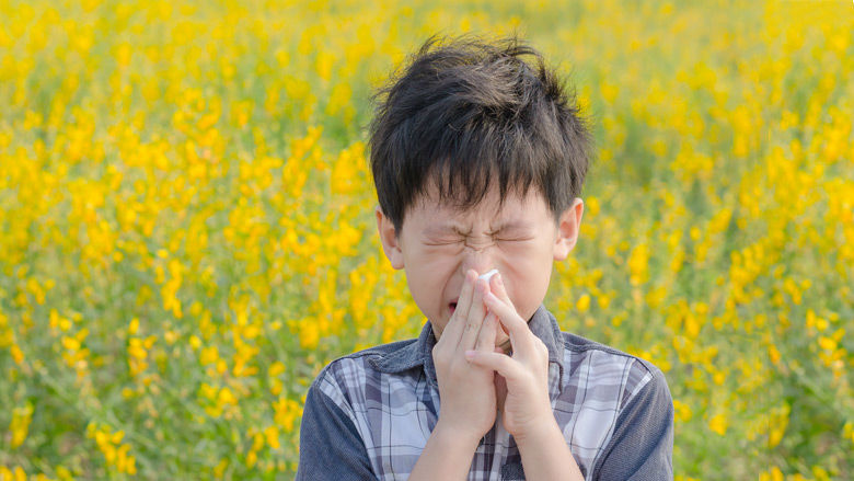 Boy sneezing in field of flowers