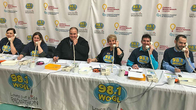Volunteers taking phone calls at the WOGL Radiothon event