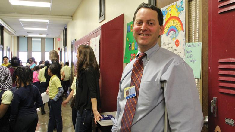 Teacher in hallway