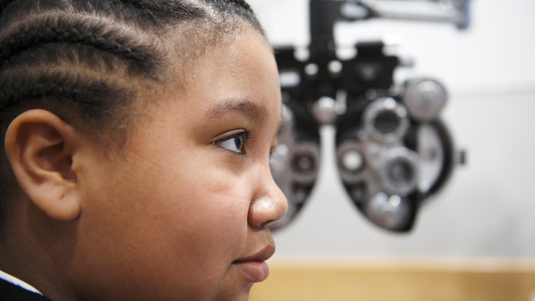 boy getting eyes checked