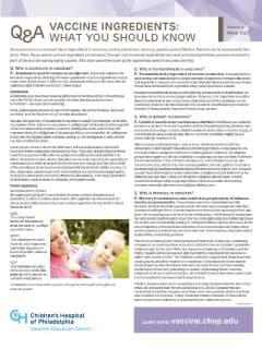 Vaccine Ingredients Fact Sheet