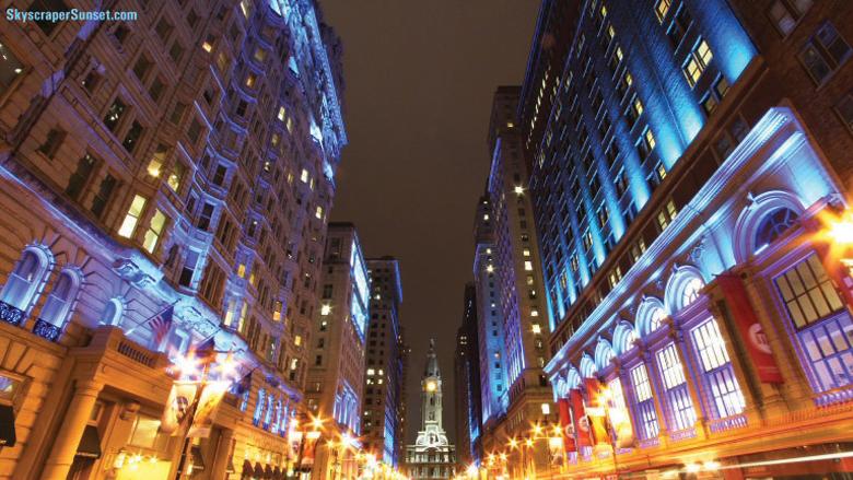 South Broad Street lit blue
