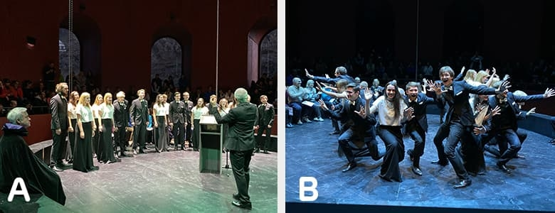 Side-by-side of musical performances at the Tower Lecture