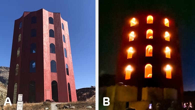 The Tower in a day and night side-by-side comparison