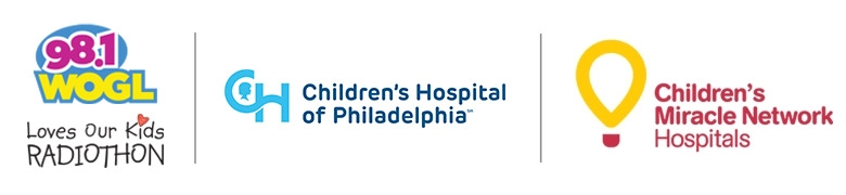 WOGL, CHOP and Children's Miracle Network logos