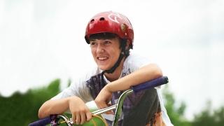 boy wearing bicycle helmet