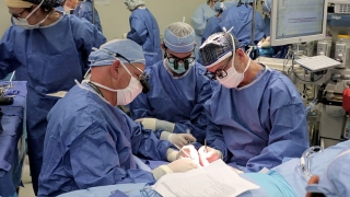 Surgeons Performing Hand Transplant Surgery