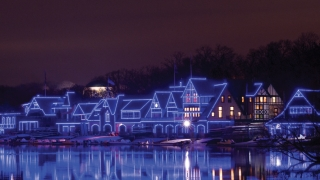 Season of Light Boathouse Row decorated in CHOP Blue lights
