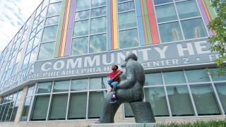 CHOP Patient taking a look at the new South Philly Community Center