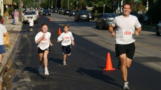 sean running with family