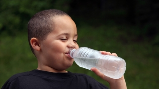 boy with waterbottle
