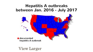 Hepatitis A outbreaks in the US Jan 2016 to July 2017