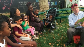Kids at the Karabots Garden listening to a story