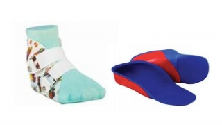 Two types of orthotics used to correct loose foot and ankle joints