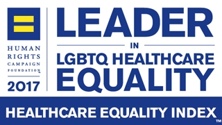 Healthcare Equality Index badge for 2017 Leader in LGBTQ Healthcare Equality