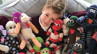 Max with Sock Monkeys