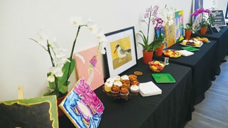 Table display with art projects and food