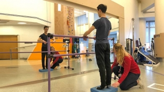Teen ballet dance doing stretches