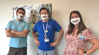 Staff wearing window facemasks