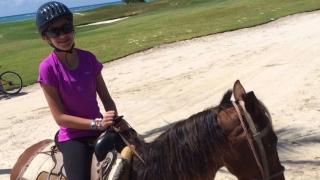 Sarah on horseback