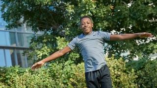 William doing gymnastics outside