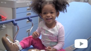 Smiling child from stomach bugs video