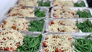 Trays of pre-made dinner