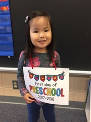 Avery on her first day of preschool