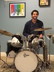 David, Crohn's Patient, playing the drums