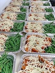 Trays of pre-made meals