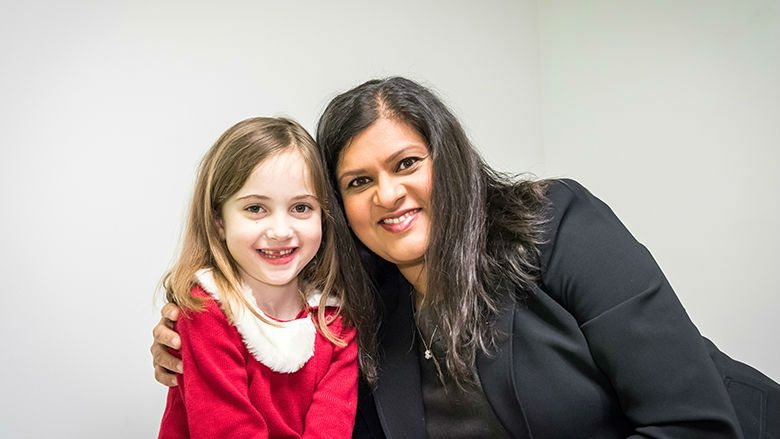 Dr. Gupta with Fiona