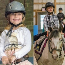Side by side of two children riding horses