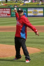 The Center's very first fetal surgery patient, Roberto Rodriquez, Jr., now 16 years old, throws out the first pitch of the game.
