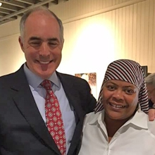 Sen. Bob Casey with Charmane Braxton