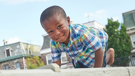 Young boy outside