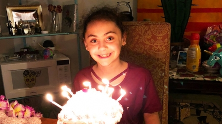 Carlin with her birthday cake